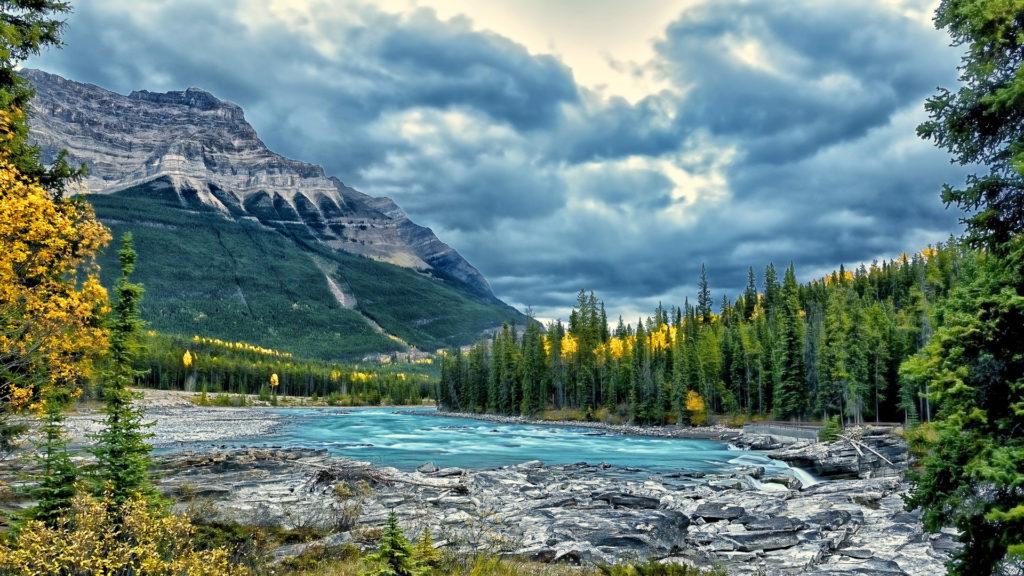 Athabasca River Jasper National Park Canada HD Desktop Background